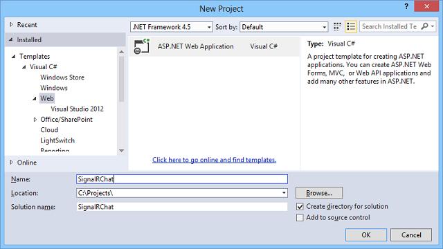 创建 SignalR ASP.NET MVC5 示例项目
