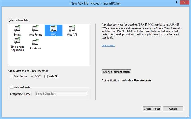 创建 SignalR ASP.NET MVC5 示例项目-2